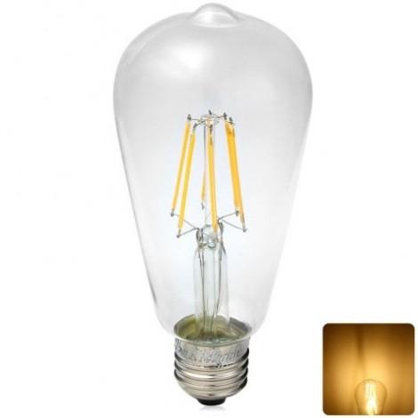 580LM 6W E27 3000K 85 - 265V 6 LEDs COB Bulb Light Sapphire Filament Bulb
