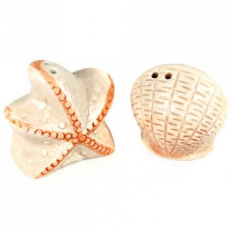 2pcs / Set Starfish and Shell Style Ceramics Seasoning Bottle Condiment Jar Kitchen Supplies Spice Tools