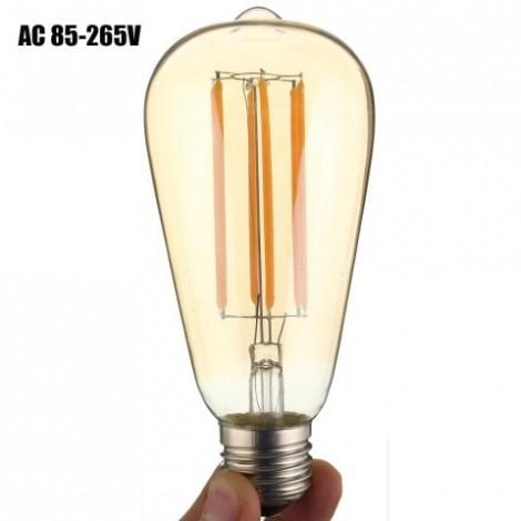 6W E27 ST64 6 x COB 600Lm LED Filament Bulb Light ( AC 85 - 265V )