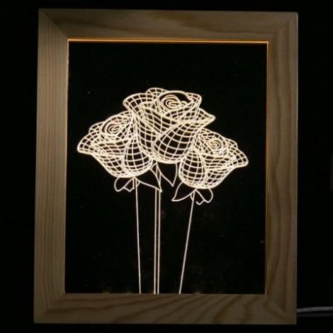 Rose Flower Wooden Photo Frame LED Table Night Light