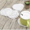 Lace Crochet Heart Shape Mini Doilies