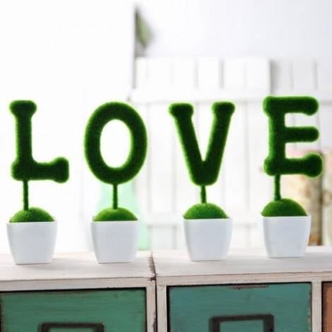XM Creative Simulation Love Design Plant Bonsai 4PCS