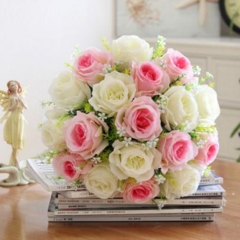 Artificial Rose Flower Bouquet Home Wedding Decor Festival Gift